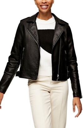 Topshop Brandy Faux Leather Moto Jacket