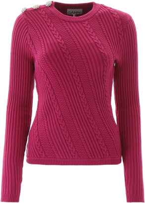 Ganni CRYSTAL BUTTON PULLOVER L Fuchsia Cotton