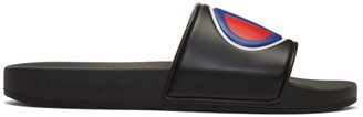 Pool' Champion Reverse Weave Black Logo Pool Slides