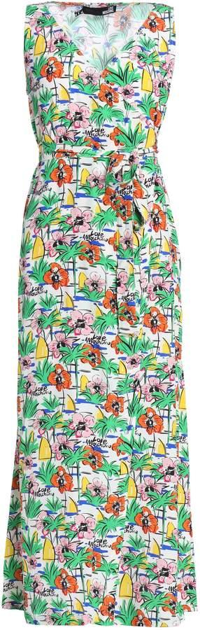Love Moschino Floral-print Crepe Maxi Wrap Dress