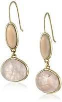 "Cole Haan Semi Precious Items"" Rose Quartz and Grey Onyx Double Drop Earrings"
