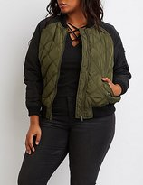 Charlotte Russe Plus Size Quilted Colorblock Bomber Jacket