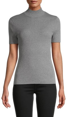 Pure Navy Rib-Knit Short Sleeve Sweater