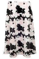 Select Fashion Fashion Womens White Shadow Print Full Skirt - size 6