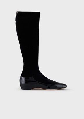 Giorgio Armani Patent Leather And Velvet Boots With Inner Wedge