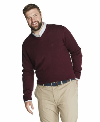 Izod Men's Big & Tall Big Premium Essentials Solid V-Neck 7 Gauge Sweater