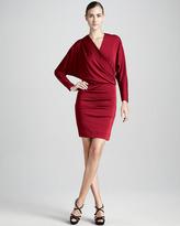 Nicole Miller Long-Sleeve Faux Wrap Jersey Dress