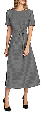 Vince Camuto Belted Houndstooth Midi Dress