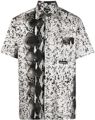 Just Cavalli Snake-Print Short-Sleeve Buttoned Shirt