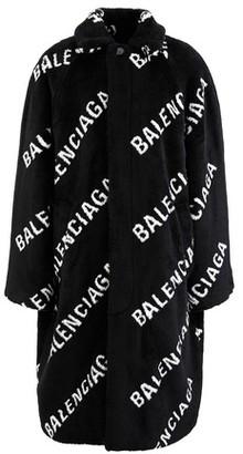Balenciaga Logo faux fur coat