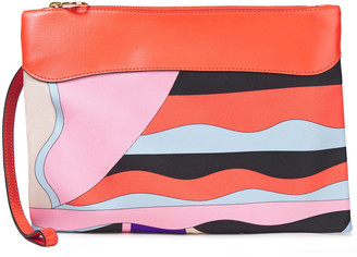 Emilio Pucci Leather-trimmed Printed Twill Pouch