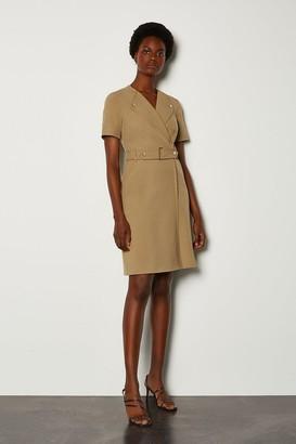 Karen Millen Cinch Waist Short Sleeve Belted Dress