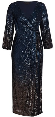 Marina Rinaldi, Plus Size Ombre Sequin Faux-Wrap Dress