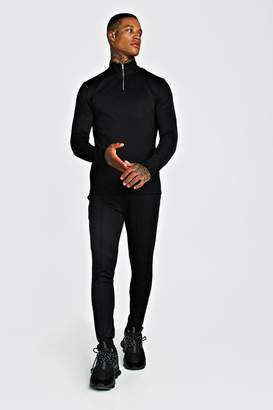 BoohoomanBoohooMAN Mens Black MAN Signature Poly Tracksuit With Pintuck, Black
