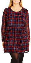 City Chic Plus Size Women's 'Check Me Out' Plaid Babydoll Dress