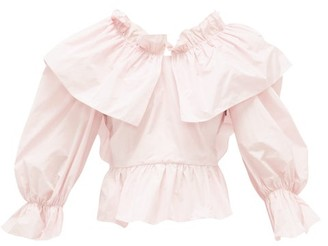MSGM Bow-back Ruffled Poplin Blouse - Light Pink