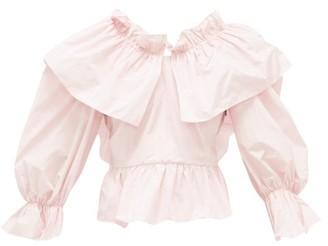 MSGM Bow-back Ruffled Poplin Blouse - Womens - Light Pink
