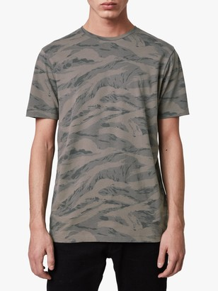 AllSaints Brace Camo Crew Neck T-Shirt, Khaki Green