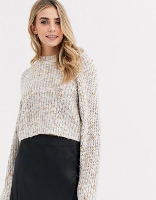 New Look mixed yarn jumper in oatmeal-Beige