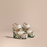 Burberry Peony Rose Print Leather Platform Wedges