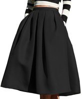 CoutureBridal Vintage High Waisted A Line Pleated Knee Lenth Midi Skirts With Pockets For Women