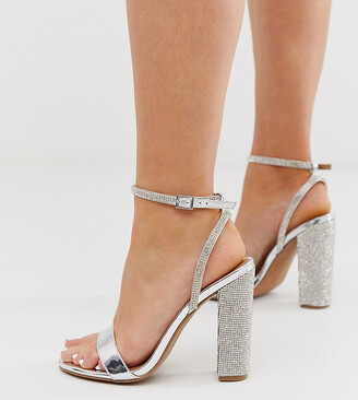 ASOS DESIGN Wide Fit Hot Step embellished block heeled sandals in silver