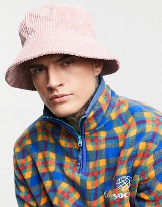 ASOS DESIGN bucket hat in dusky pink cord