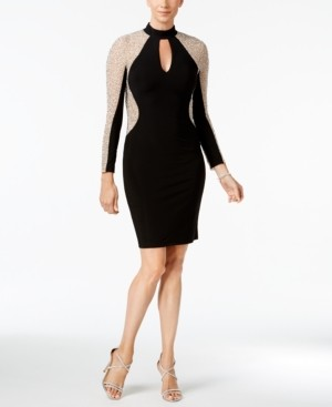 Xscape Evenings Studded Illusion Choker Sheath Dress