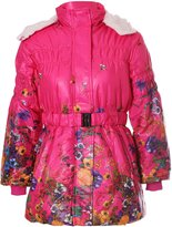 Noroze Girls Kids Floral Quilted Padded Fur Lined Belted Winter Coat Jacket