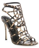 Sergio Rossi Puzzle Leather Cage Sandals