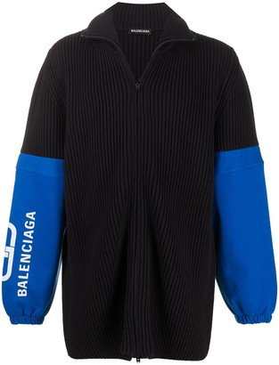 Balenciaga Ribbed Zip-Up Cardigan