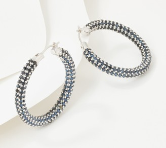 Diamonique x Courtney Cason Endless Pave Hoop Earrings Sterling Silver