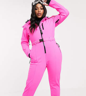Asos 4505 4505 Curve ski fitted belted ski suit with faux fur hood-Pink