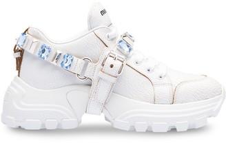 Miu Miu Crystal-Embellished Buckle Sneakers