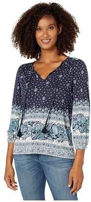 Lucky Brand 3/4 Sleeve Placed Print Knit Peasant Top (Blue Multi) Women's Clothing