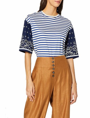 Scotch & Soda Maison Women's Oversized Tee with Contrast Printed Sleeves T-Shirt