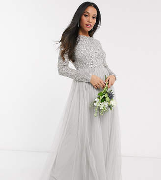 Maya Petite Bridesmaid long sleeve v back maxi tulle dress with tonal delicate sequin in grey