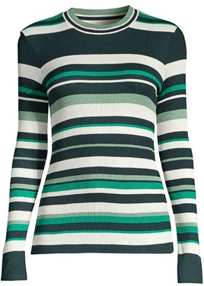 BOSS Elauren2 Striped Mini Rib Jersey Top