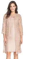 Adrianna Papell Women's Embroidered Lace Illusion Yoke Sheath Dress & Topper