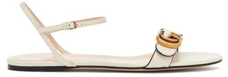 Gucci Marmont Leather Sandals - Womens - White