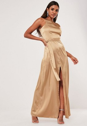 Missguided Champagne Satin Split Front Belted Maxi Dress