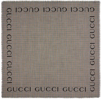 Gucci Check wool shawl with logo