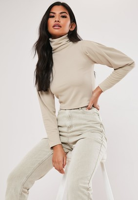 Missguided Recycled Petite Beige Roll Neck Crop Top