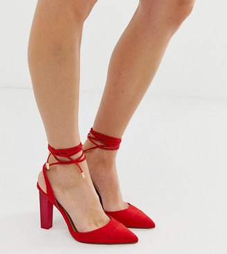Asos Design DESIGN Wide Fit Pucker Up tie leg pointed high heels-Red