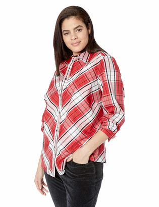 Foxcroft Plus Size Womens Tina Campbell Tartan Plaid Shirt