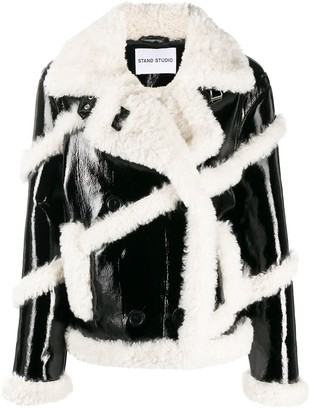 Stand Studio Melendy faux-fur stripe jacket