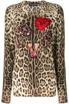 Dolce & Gabbana love applique leopard print jumper