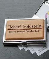 Etchey Card Holders Wood/Silver - Personalized Goldstein Metal Business Card Holder