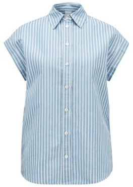 HUGO BOSS Relaxed-fit blouse in a striped cotton-linen blend