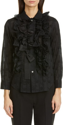 Comme des Garcons Bow Ruffle Detail Embroidered Shirt